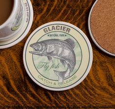 Glacier National Park Fly Fishing Coasters Sandstone Set - American Fly Fishing Rivers Design Collection