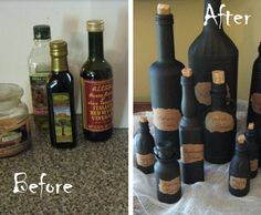 Witches Potion Bottles - Really cool way to recycle your old bottles into a great Halloween Decoration