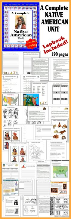 A Complete unit on NATIVE AMERICANS!  190 pages and includes #notebooking and #lapbooking pages. http://www.christianhomeschoolhub.spruz.com/governmenthistorygeography.htm