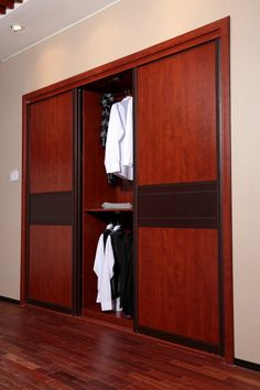 Opened Wardrobe with Sliding Doors