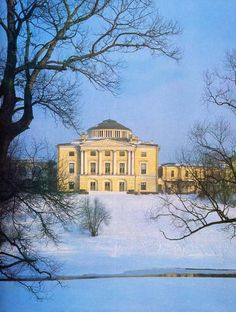 View of Pavlovsk Palace in winter with the Slavianka River in the foreground. Country Residence of the Russian Imperial Family. One of the magnificent photos taken by M. Velichko.