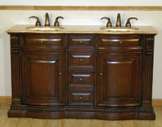 """60"""" Bathroom Furniture Travertine Top Double Sink Vanity Cabinet 712T by HF Gallery. $1502.00. Countertop: Travertine Top. Item Dimensions: 60""""W x 22""""D x 36""""H. Storage: 2 Door(s) and 6 Drawer(s). Sink Type: Undermount Ivory Ceramic Sink. Pre-drilled Faucet Hole: 8-inch widespread, 3 holes (1-1/8"""") - Faucet Sold Separately. The natural travertine countertop with dark American Walnut finish is sure to give any bathroom the attention and appeal that it deserves. M..."""