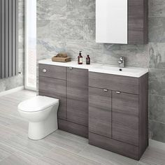 Brooklyn Grey Avola Combination Furniture Pack - Wide, refresh your bathroom with one of our stunning modern bathroom furniture at Victorian Plumbing UK Bathroom Makeover, Shower Room, Bathroom Furniture, Toilets And Sinks, Grey Bathrooms Designs, Small Bathroom, Bathroom, Back To Wall Toilets, Bathroom Furniture Modern