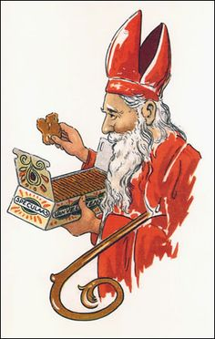 Sinterklaas enjoying Speculaas ~ St. Nicholas Center cookie recipes, including Speculaas Koekjes from Jaarsma Bakery of Pella, Iowa.