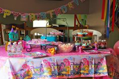 I created this My Little Pony themed birthday party for my 4 year old with lots of inspiration from Rainbow Dash.