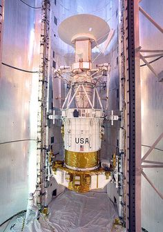 The Magellan spacecraft inside the payload bay of the shuttle Atlantis, being prepared for launch. The Magellan spacecraft, also referred to as the Venus Radar Mapper, was a 1,035-kilogram (2,282 lb) robotic space probe launched by NASA on May 4, 1989, to map the surface of Venus by using synthetic aperture radar and to measure the planetary gravitational field.