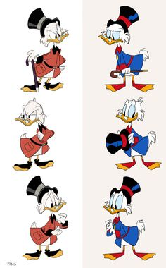 Little something I really HAD to do. Original DuckTales Scrooge in reboot's style and reboot's Scrooge in original style.