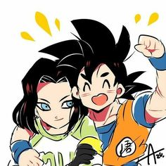 android 17 arm over shoulder artist name azu black hair blue eyes clenched hand dougi dragon ball dragon ball super dragonball z earrings eyes closed gloves green shirt happy jewelry long sleeves looking at another male focus multiple boy Dragon Ball Gt, Manga Anime, Anime Boys, Anime Art, Chibi, Gohan, Dbz Characters, Comic, Son Goku