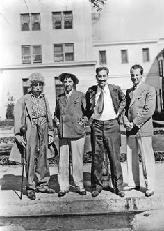 Harpo, Chico, Groucho and Zeppo Marx, Golden Age Of Hollywood, Vintage Hollywood, Hollywood Stars, Classic Hollywood, Classic Comedies, Classic Movies, Iconic Movies, Zeppo Marx, Abbott And Costello