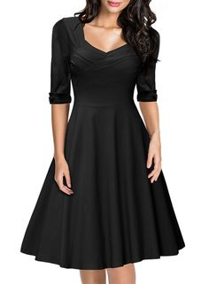 MiusolU+00AE Women's Retro Hepburn Style Half Sleeve Swing Bridesmaid Dress (Small, Black)