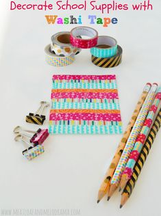 How to Decorate School Supplies with Washi Tape -- a very easy back to school  sc 1 st  Pinterest & 14 Back to School Washi Tape Crafts | More Washi tape and Washi ideas