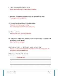 Bill Nye Water Cycle Video Worksheet | Water Cycle, Bill Nye and ...