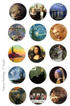 Famous Paintings Bottle Cap Images - 4 x 6 Digital Collage Sheet - 1 inch Round Circles PLEASE NOTE: This is a digital product, NO physical Bottle Cap Art, Bottle Cap Crafts, Bottle Cap Images, Printable Stickers, Cute Stickers, Planner Stickers, Vogel Silhouette, Glass Tile Pendant, Tumblr Stickers