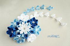 Tsumami Kanzashi Wedding Fabric Flower Hair by wonderfulkanzashi, $45.00