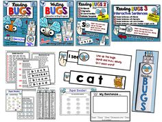 """Full Year Bundle! This pack includes the reading bugs programs for CVC words, Blends, Digraphs, Word Families, Color and Number words, and Simple Sentences. Students collect """"bugs"""" stickers for their certificates of completion. Includes 4 full sets and an editable version for creating your own word cards, plus 16 writing centers! 375 pages. $ Whimsy Workshop Teaching"""