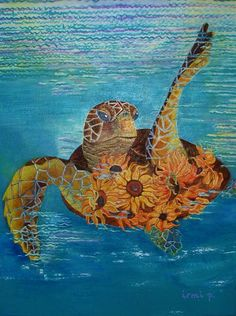 Sea turtle painting with Sunflowers Original Painting Fantasy Turtle Painting Acrylic on Canvas  Wall Art