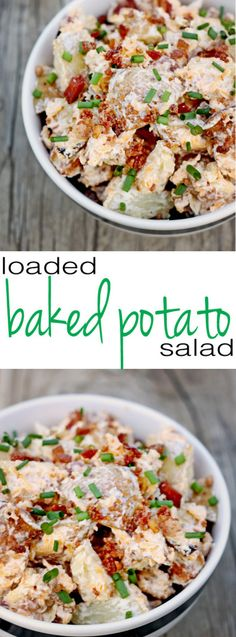 Potato salad gets an upgrade with this loaded baked potato salad recipe! Cheese and bacon and butter, oh my! The simple secret makes it easy and delicious!