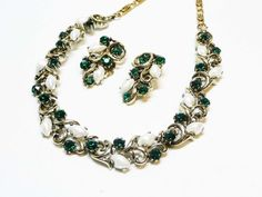Lisner Green & White Rhinestone Necklace & Earring Set - Rhinestones and Baby Tooth Stones - Designer Signed Jewelry  This designer signed Lisner Necklace & Earring Set is ... #teamlove #vintage #jewelry
