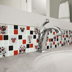 Shop for Disney Minnie Red Glass Mosaic Wall Tile. Get free delivery On EVERYTHING* Overstock - Your Online Home Improvement Shop! Get in rewards with Club O! Cocina Mickey Mouse, Mickey Mouse House, Mickey Mouse Kitchen, Minnie Mouse, Disney Themed Rooms, Disney Rooms, Disney House, Mosaic Wall Tiles, Mosaic Glass