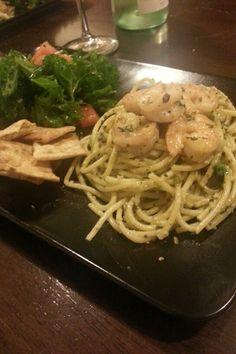 Shrimp pesto pasta with kale salad