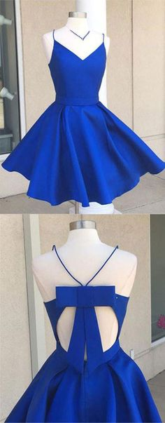 Royal Blue Spaghetti Strap V Neck Cut Out Homecoming Dresses Best Cocktail Dresses Dama Dresses, Hoco Dresses, Trendy Dresses, Cute Dresses, Beautiful Dresses, Party Dresses, Royal Blue Homecoming Dresses, Open Back Prom Dresses, Royal Blue Dresses