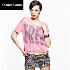 Womens Letter Pattern Candy Color Two-Piece Round Collar Short Sleeve Pink Tshirt