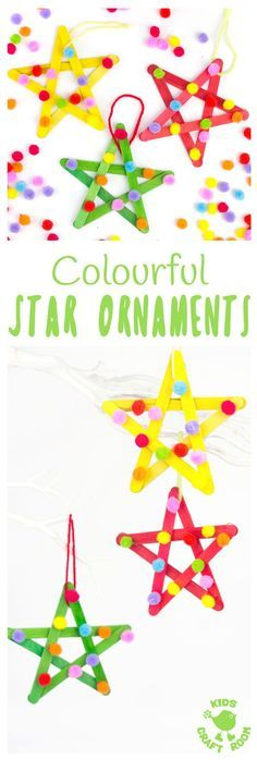 STAR ORNAMENTS - This colourful pom pom popsicle stick craft will look amazing hanging on your Christmas tree or as a bright and cheery star craft for a bedroom or nursery all year round. An easy and pretty Christmas craft for kids.
