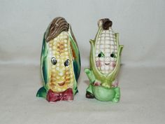 Vintage Anthropomorphic Corn Ears Salt & Pepper Shakers Japan-corn makes me giggle!