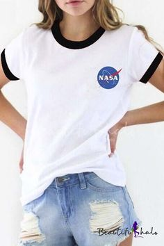 Contrast Trim NASA Logo Print Short Sleeve Tee with Round Neck - Beautifulhalo.com