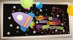 """For the Moon Motivational Space Themed Bulletin Board Idea bulletin board: """"Shoot for the moon. Even if you miss, you'll be among the stars .""""bulletin board: """"Shoot for the moon. Even if you miss, you'll be among the stars . Space Theme Classroom, Classroom Door, Classroom Design, Classroom Displays, Classroom Ideas, Science Classroom, Themes For Classrooms, Preschool Classroom Themes, School Displays"""