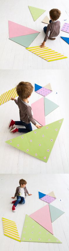 Make a giant tangram puzzle for kids., a giant tangram puzzle for kids. This would be a fun game for a kid& birthday party! Toddler Party Games, Games For Toddlers, Birthday Party Games, Toddler Activities, Activities For Kids, Birthday Kids, Diy For Kids, Cool Kids, Crafts For Kids