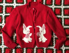 1960s Bunny Sweater Girls Large/Women's Small by lishyloo on Etsy