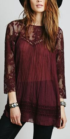 CA Mode Women's Lace Floral Tunic Tops Shirt Blouse Mini Dress: Item Size: About Size S to XL for Westerners(Please compare the detail sizes with yours before you buy). brSize Sleeve brSize Sleeve Length: br Size L: Sleeve brSize XL Sleeve brItem Color: Hippie Elegante, Estilo Hippie, Hippie Chic, Hippie Gypsy, Lace Tunic, Floral Tunic, Boho Fashion, Autumn Fashion, Fashion Outfits
