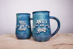 You are Mine and I am Yours mug set, Game of Thrones mugs, handmade pottery mugs - by TurtleRok