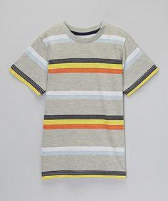 Look at this #zulilyfind! Gray & Yellow Stripe Tee - Toddler & Boys #zulilyfinds