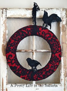 Halloween Crow Wreath- Could put purple underneath.  Easy for grandkids to do for project.  Crows from Dollar Tree