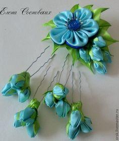 """Купить комплект """"Первые бутоны"""" - голубой, канзаши, шпильки для волос, шпильки с цветами, зажим с цветком"""