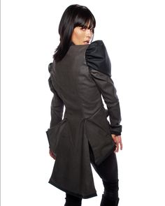 Back view - Nuvula Two-Tone Notched Collar & Asymetric Bottom Jacket