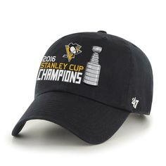 c39f5c9998080 Pittsburgh Penguins 47 Brand 2016 Stanley Cup Champions Black Adjustable Hat  Cap