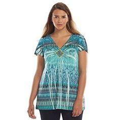 6758478efe Apt. 9® Printed Embellished Top - Women s Plus Size Plus Size Shirts