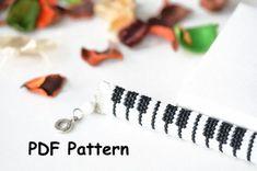 "PDF Pattern for Beaded bracelet ""Piano"" - bead rope pattern, seed beads pattern, bead crochet bracelet pattern, piano keyboard, music fan bracelet"
