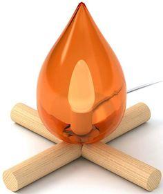 lámpara de  mesa de diseno original que emula el fuego