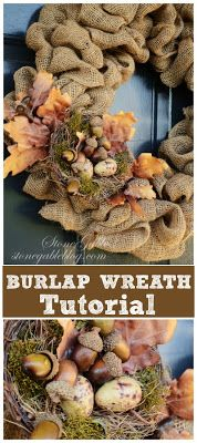 HINTS- you can use less burlap for soft floppy wreath. Or more for a tighter fuller look at the one here. Exposed to the elements tends to make it droopy. IF wet bring it and let dry. When dry fluff it up or turn it upside down and blow dry it. DO NOT USE HOT GLUE-wire instead so you can change the decorations