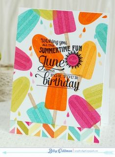 Summertime Fun Birthday Card by Betsy Veldman for Papertrey Ink (May 2014)