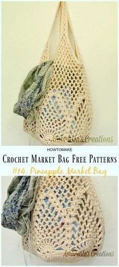Pineapple Market Bag Crochet Free Pattern - Market Grocery Patterns Crochet Market Bag Free Patterns: a collection of crochet market tote bag, grocery bag, shopping bag for farmers market and grocery store, grocery storage Bag Crochet, Crochet Shell Stitch, Crochet Market Bag, Crochet Handbags, Crochet Purses, Crochet Gifts, Crochet Stitches, Crochet Patterns, Crochet Bag Free Pattern
