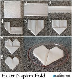 How to Fold a Napkin into a Heart. Ideal for dressing up wedding place settings, . How to Fold a Napkin into a Heart. Ideal for dressing up wedding place settings, … How to fold a Fancy Napkin Folding, How To Fold Napkins, Wedding Napkin Folding, Folding Paper Napkins, Wedding Place Settings, Wedding Napkins, Wedding Table, Wedding Places, Deco Table