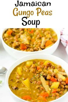 This easy Jamaican Gungo Peas Soup is so delicious and hearty, perfect for the colder months. Full of flavor with gungo peas, yellow yam, carrot, and dumplings. Easy Soup Recipes, Vegan Dinner Recipes, Chili Recipes, Indian Food Recipes, Vegetarian Recipes, Yummy Recipes, Recipies, Ethnic Recipes, Jamaican Dishes