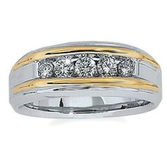 $915.00 Men's 14k Two-Tone Gold Polished Finish Diamond Ring (0.50 cttw, H-I Color, I1-I2 Clarity) Amazon.com Collection, http://www.amazon.com/dp/B006KCY8HS/ref=cm_sw_r_pi_dp_xYo-qb1DCVBSP