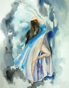 Ballerina Dancer Art Print 11x14 from Original Watercolor Painting Blue Dance Figurative Art #etsy #etsyretwt