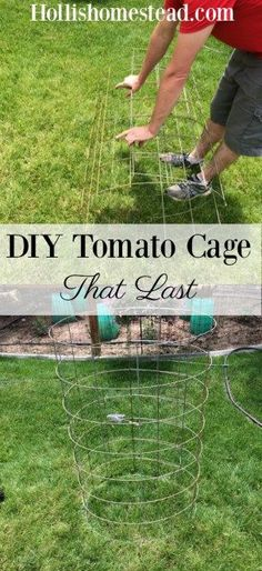 Ultimate DIY Tomato Cages that will last for years. Inexpensive and easy to make using remesh sheets, tie wire, & cable ties. Gardening, DIY, Homesteading, Tomato Cages.
